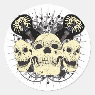 3 Skull Guitars Classic Round Sticker