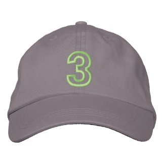 """""""3"""" Small Athletic Number Embroidered Baseball Cap"""