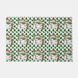 3 Snowman Carolers Doormat