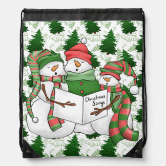 3 Snowman Carolers Drawstring Bag