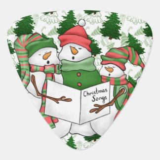 3 Snowman Carolers Guitar Pick
