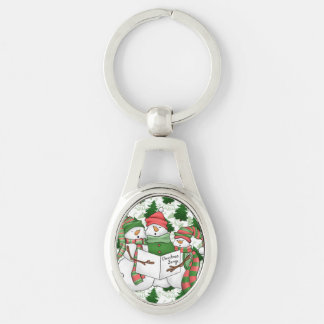 3 Snowman Carolers Key Ring