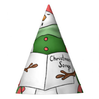 3 Snowman Carolers Party Hat