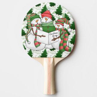 3 Snowman Carolers Ping Pong Paddle