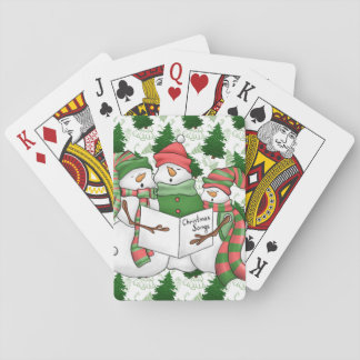 3 Snowman Carolers Playing Cards