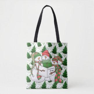 3 Snowman Carolers Tote Bag