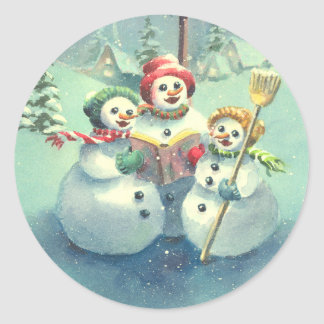 3 SNOWMEN by SHARON SHARPE Classic Round Sticker