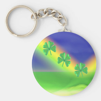 3 St. Patrick's Day 4-Leaf Clovers Basic Round Button Key Ring