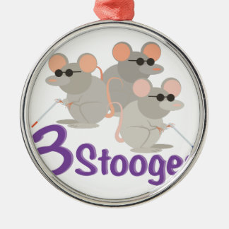 3 Stooges Silver-Colored Round Decoration