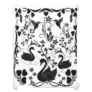3 Swans and hummingbirds black Case For The iPad 2 3 4