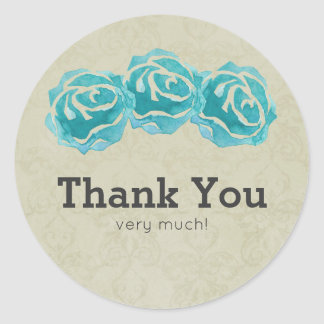 3 Teal Watercolor Roses on Tan Damask Thank You Classic Round Sticker