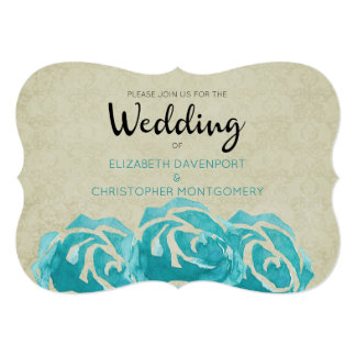 3 Teal Watercolor Roses on Tan Damask Wedding Card