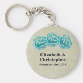 3 Teal Watercolor Roses on Tan Damask Wedding Key Ring
