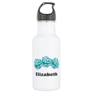 3 Teal Watercolor Roses Personalized 532 Ml Water Bottle