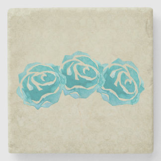 3 Teal Watercolor Roses Stone Coaster
