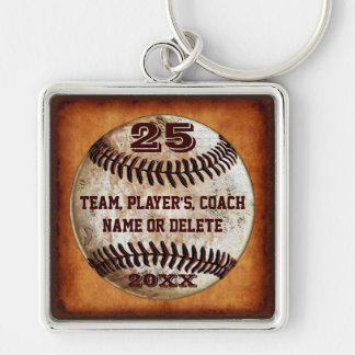 3 Text Templates Gifts for Baseball Players, Coach Silver-Colored Square Key Ring