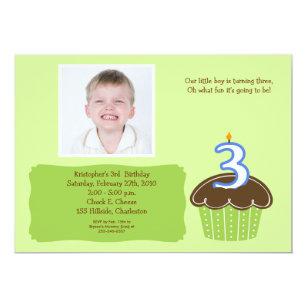 3 year old birthday invitations announcements zazzle 3 three year old cupcake photo birthday invite stopboris Choice Image