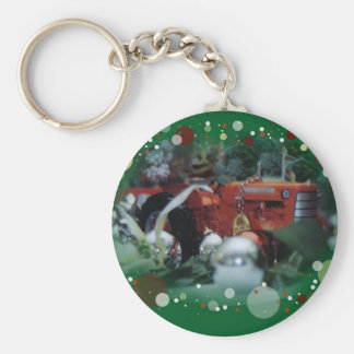3 toy tractors at christmas basic round button key ring