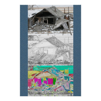 3 Views of an old Shack Print