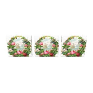 3 Vintage Floral Wreaths Stretched Canvas Print