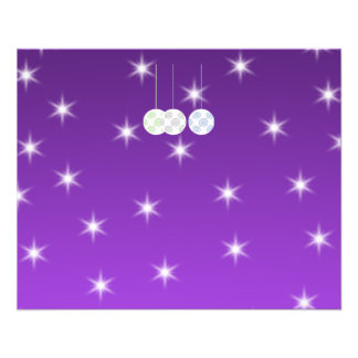 3 White Christmas Baubles on Purple Background Flyer