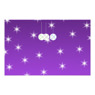 3 White Christmas Baubles on Purple Background. Full Color Flyer