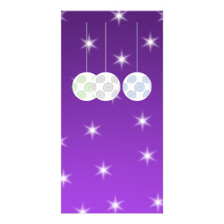 3 White Christmas Baubles on Purple Background. Photo Cards