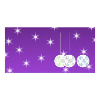 3 White Swirl Design Christmas Baubles. On Purple Photo Greeting Card