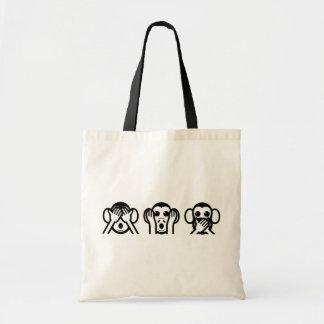 3 Wise Monkeys Emoji Budget Tote Bag