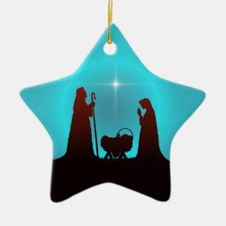 3 WISEMEN STAR & NATIVITY by SHARON SHARPE Ceramic Ornament