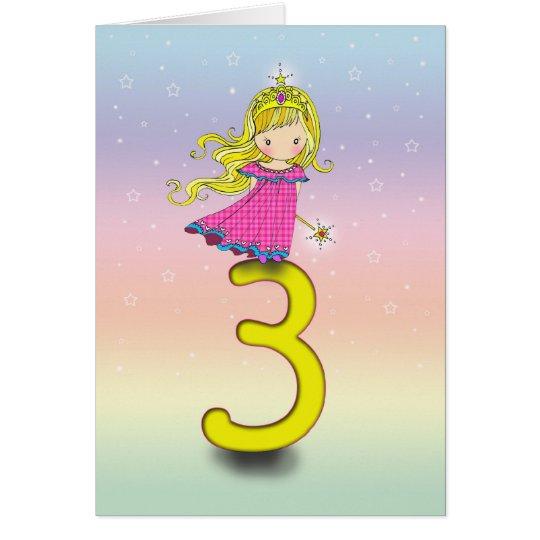 3 Year Old Birthday Card Little Princess Zazzle Com Au