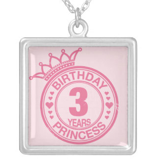 3 years - Birthday Princess - pink Silver Plated Necklace