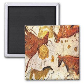 3c   Ancient Lascaux Bulls Square Magnet