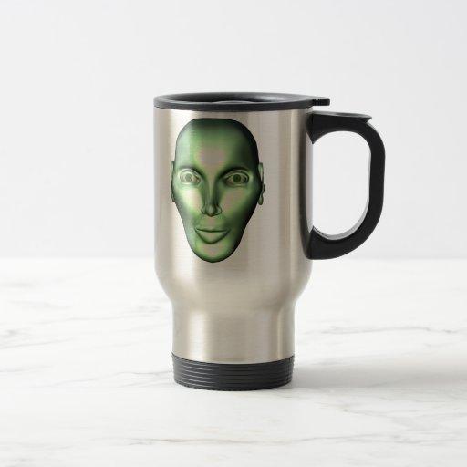 3D Alien Head Extraterrestrial Being Travel Mug