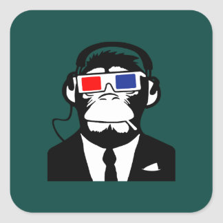 3D Ape Monkey Club Electro Motive Headphones Square Sticker