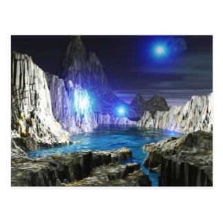 3d art blue moon postcard
