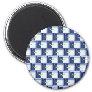 3D Azores flag pattern 6 Cm Round Magnet