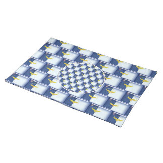 3D Azores flag pattern Place Mats