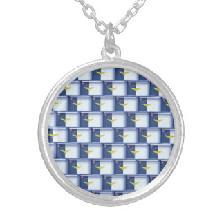 3D Azores flag pattern Silver Plated Necklace