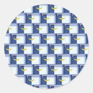 3D Azores flag pattern Round Sticker