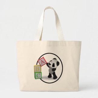 3d Baby Panda Alphabet Blocks Canvas Bag