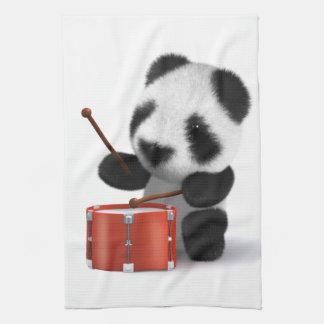 3d Baby Panda Drummer Tea Towel