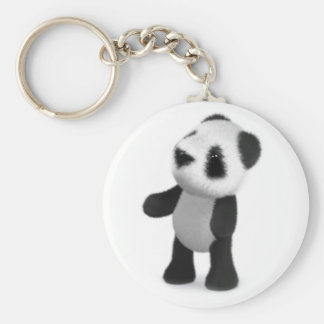 3d Baby Panda Looks Up Basic Round Button Key Ring