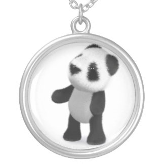 3d Baby Panda Looks Up Silver Plated Necklace