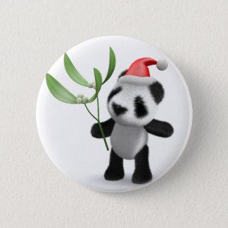 3d Baby Panda Mistletoe 6 Cm Round Badge