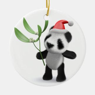 3d Baby Panda Mistletoe Round Ceramic Decoration