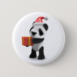 3d Baby Panda Santa Present 6 Cm Round Badge