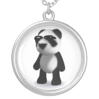 3d Baby Panda Sunglasses Silver Plated Necklace
