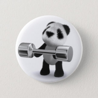 3d Baby Panda Weightlifter 6 Cm Round Badge