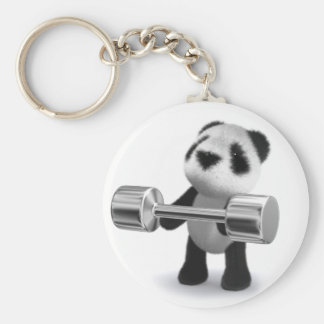 3d Baby Panda Weightlifter Basic Round Button Key Ring